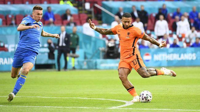 Timnas Belanda ditahan imbang Ukraina 0-0 di babak pertama pertandingan Grup C Euro 2020 (Euro 2021), Senin (14/6) dini hari WIB.