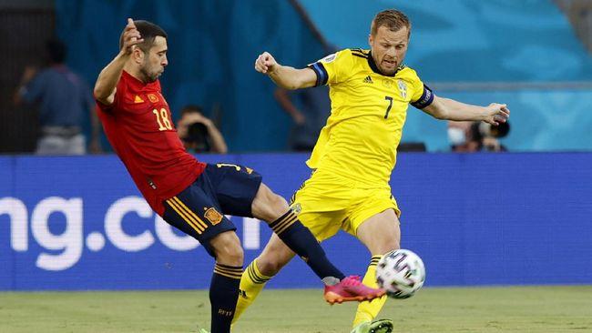 Spanyol dan Swedia gagal mencetak gol dalam laga babak pertama fase grup Euro 2020 (Euro 2021) di Stadoin La Cartuja, Sevilla, Selasa (15/6).