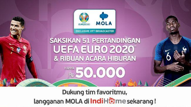 IndiHome TV bekerja sama dengan Mola menyajikan pertandingan lengkap kompetisi sepakbola Euro 2020 yang tertunda tahun lalu akibat pandemi.