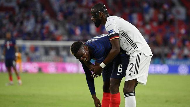 Bek timnas Jerman, Antonio Rudiger, tak akan mendapat hukuman setelah terlihat menggigit Paul Pogba di Euro 2020 (Euro 2021).