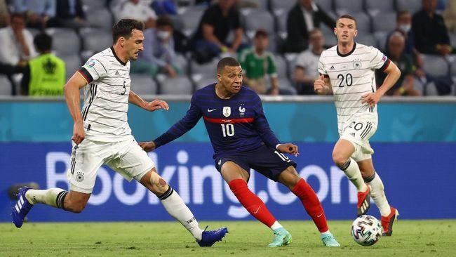 Timnas Prancis menang tipis 1-0 atas Jerman dalam laga Grup F Euro 2020 (Euro 2021) di Stadion Allianz Arena, Rabu (16/6) dini hari waktu Indonesia.