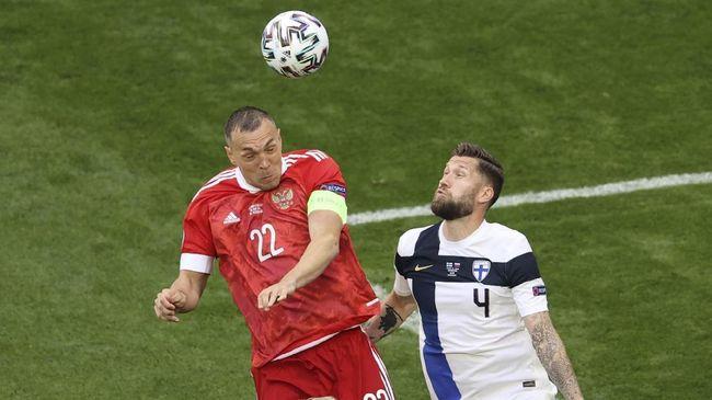 Timnas Rusia unggul 1-0 atas Finlandia di babak pertama dalam laga lanjutan Grup A Euro 2020 (Euro 2021).