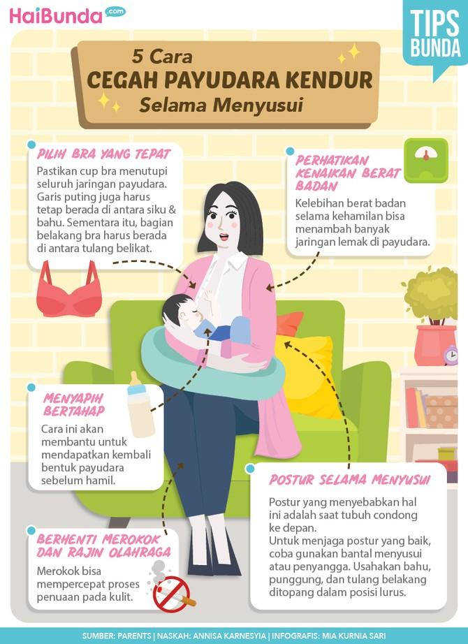 Infografis 5 Cara Cegah Payudara Kendur Selama Menyusui