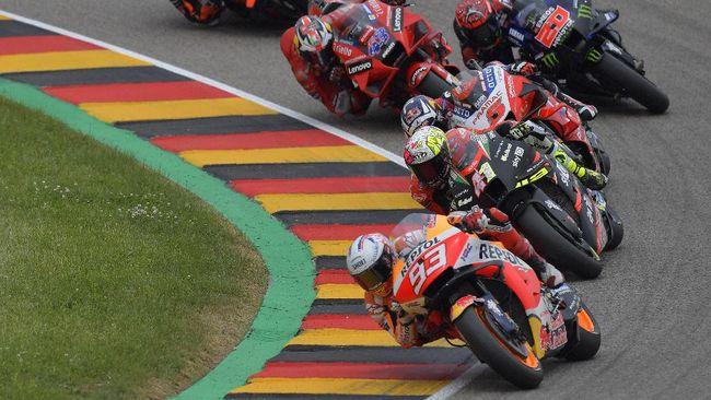 Marc Marquez menang MotoGP Jerman 2021 setelah mengalahkan Miguel Oliveira pada balapan di Sirkuit Sachsenring, Minggu (20/6).