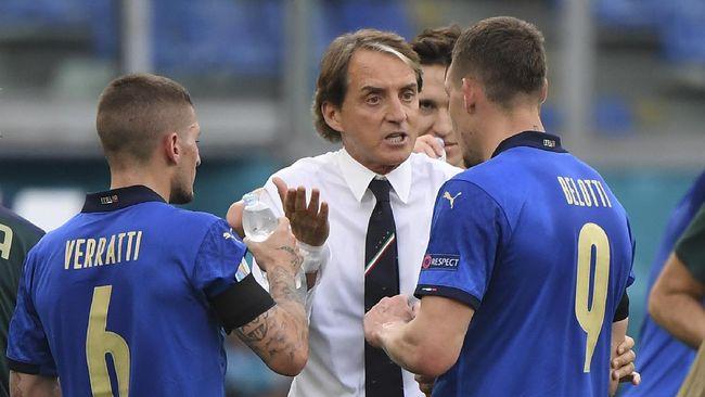 Roberto Mancini mengistirahatkan pemain utama timnas Italia di laga terakhir Euro 2020 (Euro 2021) namun Gli Azzurri tetap hebat.