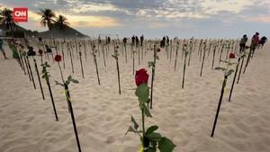 VIDEO: Bunga Mawar untuk 500 Ribu Kematian Corona Brasil