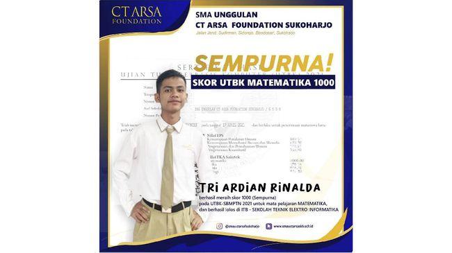 Siswa SMA unggulan CT Arsa Sukoharjo Tri Ardian Rinalda membocorkan rahasianya bisa meraih nilai sempurna matematika UTBK SBMPTN 2021.