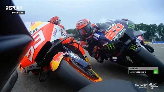 VIDEO: Momen Quartararo-Marquez Senggolan di MotoGP Jerman