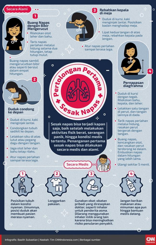 Sebelum bantuan medis datang, Anda bisa melakukan penanganan pertama sesak napas untuk membantu menenangkan pernapasan.