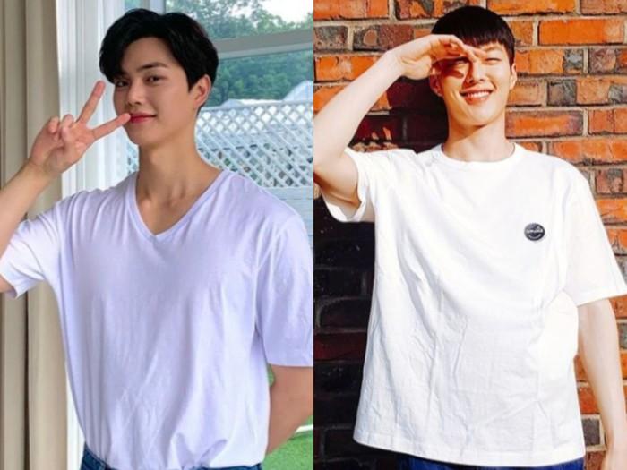 Tak harus terus bergaya bak supermodel, gaya santai dengan hanya memakai kaos putih polos tidak membuat pesona Song Kang dan Jang Ki Yong luntur. Bahkan, keduanya tampak lucu dan menggemaskan, bukan? (source: Korean Arena)