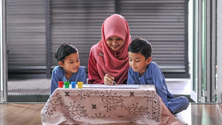 Ilustrasi anak membaca al quran