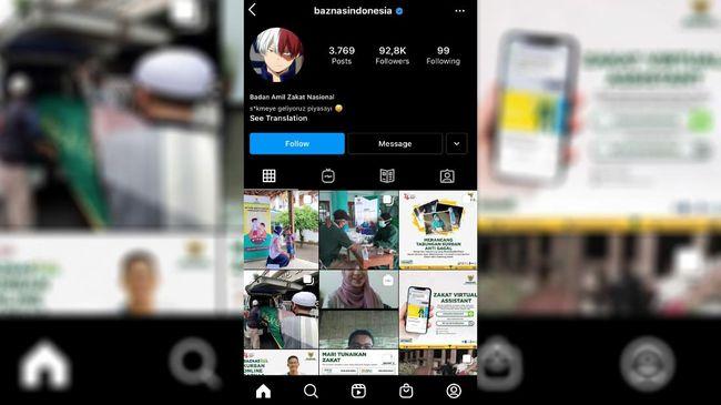 Akun resmi Instagram Badan Amil Zakat Nasional (Baznas) Republik Indonesia diretas sekitar pukul 17.30 WIB pada Rabu (30/6).