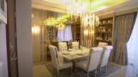 <p>Ruang makan terlihat begitu elegan, didominasi warna emas dan putih. (Foto: YouTube TAULANY TV)</p>