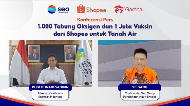 Menteri Kesehatan Budi Gunadi Sadikin mengapresiasi bantuan 1.000 tabung oksigen dari Sea Group, induk perusahaan Shopee dan Garena.