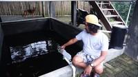 <p>Tak hanya itu, di bawah hunian dengan kapasitas sekitar 50 orang itu juga memiliki kolam ikan. Untuk pengairannya, Dodit menggunakan sistem melingkar. Air pembuangan ikan kemudian dialirkan ke tanaman hidroponik, sisanya akan disaring dengan filter dan kembali ke kolam tersebut. (Foto: YouTube: Dodit Mulyanto)</p>