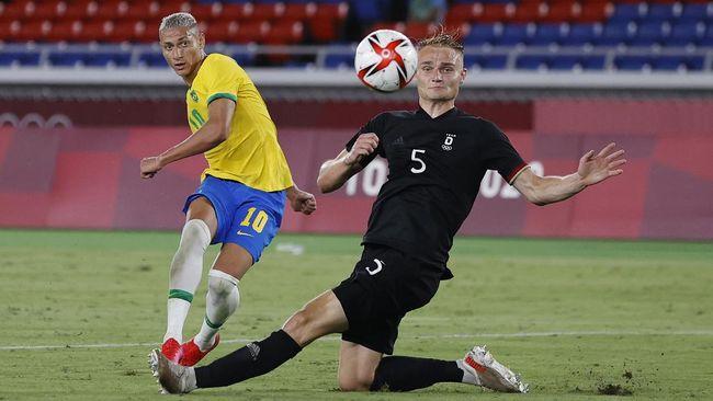 Brasil berhasil menaklukkan Jerman 4-2 pada laga perdana Grup D Olimpiade Tokyo 2020 di Stadion Yokohama, Kamis (22/7).