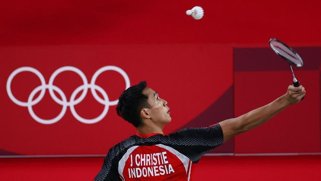 Jonatan Christie menang mudah atas Aram Mahmoud pada pertandingan pertama Grup G tunggal putra badminton Olimpiade Tokyo 2020.