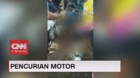 VIDEO: Pencuri Motor Babak Belur Dihajar Massa