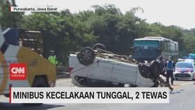 VIDEO: Minibus Kecelakaan Tunggal, 2 Tewas