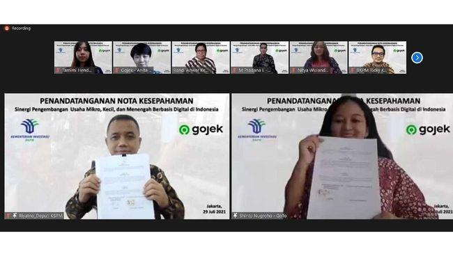 Kementerian Investasi/BKPM secara daring menandatangani Nota Kesepahaman dengan Gojek dalam pengembangan UMKM berbasis digital di Indonesia.
