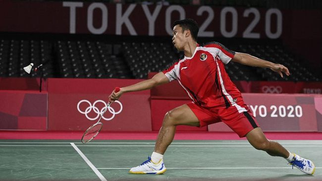 Anthony Sinisuka Ginting lolos ke semifinal tunggal putra badminton Olimpiade Tokyo 2020 usai mengalahkan Anders Antonsen.