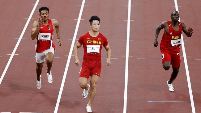 Sprinter Indonesia, Lalu Muhammad Zohri, gagal lolos ke babak semifinal nomor 100 meter putra Olimpiade Tokyo 2020 setelah finis di posisi kelima di heat 4.