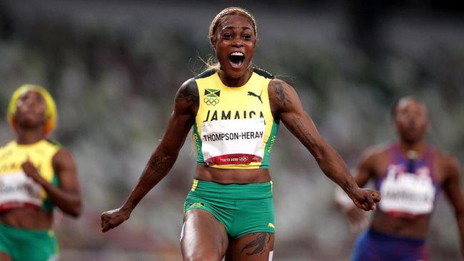 Sprinter asal Jamaika Elaine Thompson Herah berhasil mencatatkan rekor baru Olimpiade saat mempertahankan medali emas di nomor 100 meter putri.