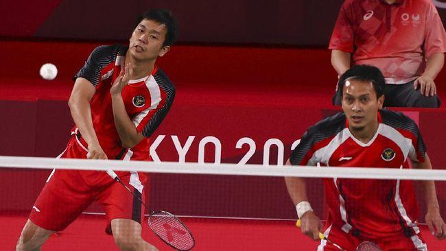 Ganda putra Indonesia Mohammad Ahsan/Hendra Setiawan gagal merebut medali perunggu cabor badminton Olimpiade Tokyo 2020.