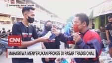 VIDEO: Mahasiswa Menyerukan Prokes di Pasar Tradisional