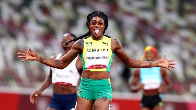 Elaine Thompson-Herah dari Jamaika mencetak sejarah besar sebagai pelari putri pertama yang meraih dua emas dari nomor 100 meter dan 200 meter Olimpiade.