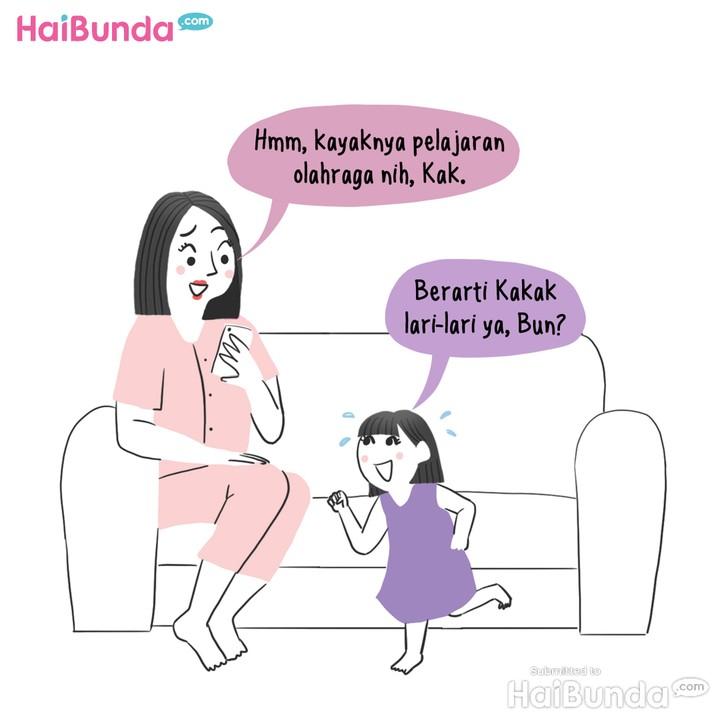 Komik: Saat Anak TK Olahraga Virtual..