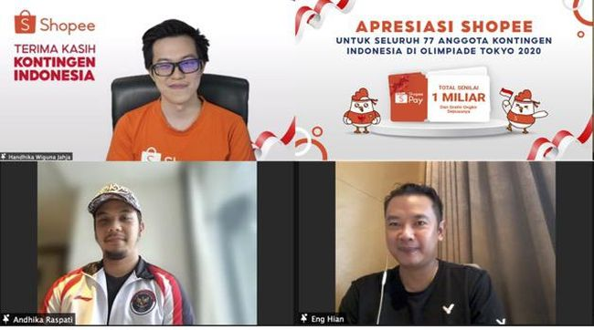 Shopee bakal menyambut seluruh kontingen Indonesia di Olimpiade Tokyo 2020, termasuk atlet, ofisial, hingga masseur, dengan guyuran bonus Rp1 miliar.