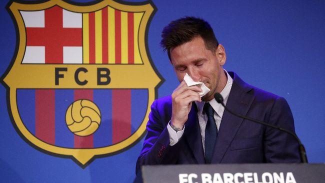 Messi Menangis Ucapkan Perpisahan dengan Barcelona