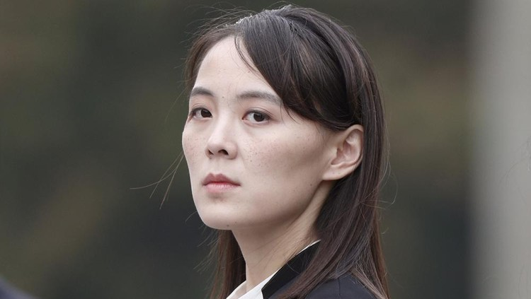 FILE - In this March 2, 2019, file photo, Kim Yo Jong, sister of North Korea's leader Kim Jong Un attends a wreath-laying ceremony at Ho Chi Minh Mausoleum in Hanoi, Vietnam. The powerful sister of North Korean leader Kim ripped South Korea for proceeding with military exercises with the United States she claimed are an invasion rehearsal and warned that the North will speed up its efforts to strengthen its pre-emptive strike capabilities. (Jorge Silva/Pool Photo via AP, File)