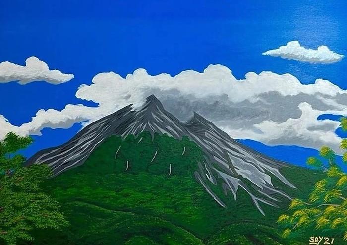 Konon, lukisan ini terinspirasi dari gunung Merapi yang ada di perbatasan provinsi Daerah Istimewa Yogyakarta dan Jawa Tengah. Foto ini menggambarkan kondisi Merapi yang sedang tenang dilengkapi dengan langit yang cerah. (Foto: instagram.com/jansensitindaon)