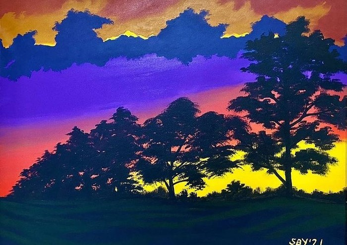 Lukisan mengenai senja ini juga menjadi salah satu mahakarya Bapak SBY. Perpaduan warna yang kontras untuk menggambarkan langit ditambah coretan gambar pepohonan membuat karya ini tampak semakin menarik perhatian (Foto: instagram.com/jansensitindaon)