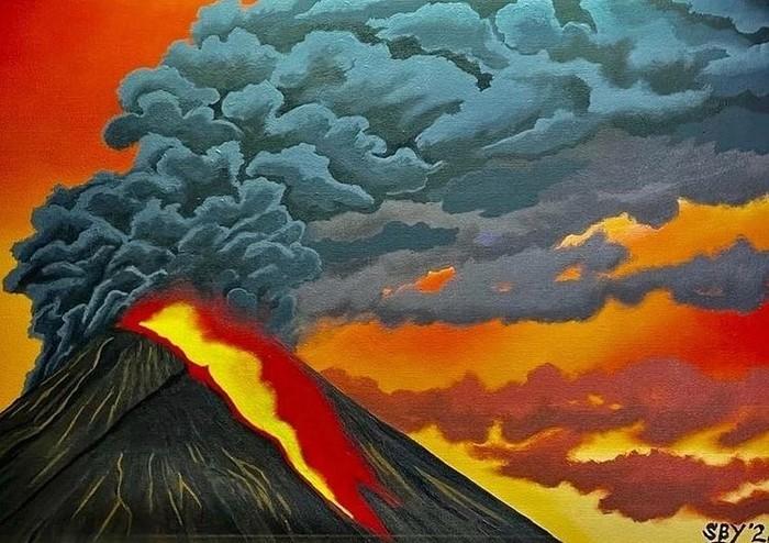 Selain melukis tentang gunung Merapi yang tenang, Bapak SBY juga melukiskan kondisi saat gunung Merapi sedang erupsi. Warna merah dan oranye dalam gambar ini sangat kuat dan terlihat realistis. (Foto: instagram.com/jansensitindaon)