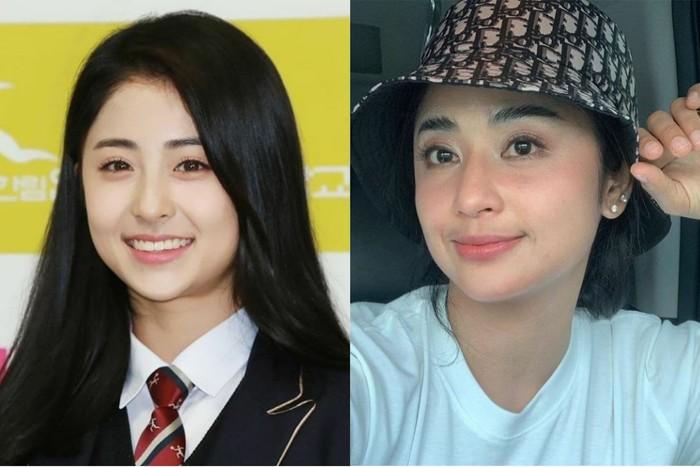 Potret Heo Yunjin, K-pop trainee terkenal yang berada di bawah naungan PLEDIS entertainment ini, sering dibilang mirip dengan Dewi Persik. Mungkin karena sama-sama bermata lebar dan bentuk bibir merekah ya, Beauties. /Foto: instagram.com/izonekkoya dan instagram.com/dewipersikreall2