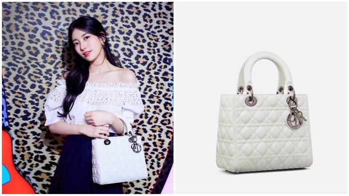 Tak ketinggalan, Suzy melengkapi penampilannya dengan menggunakan tas berwarna putih, Medium Lady Dior Bag seharga 5200 USD, nih Beauties. Serasi dengan blouse yang dipakai Suzy, ya!/ Foto: Instagram.com/skuukzky