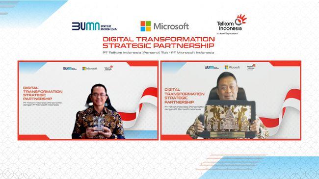 PT Telkom Indonesia dan PT Microsoft Indonesia mengumumkan kolaborasi untuk mempercepat transformasi digital pada Kamis (19/8).