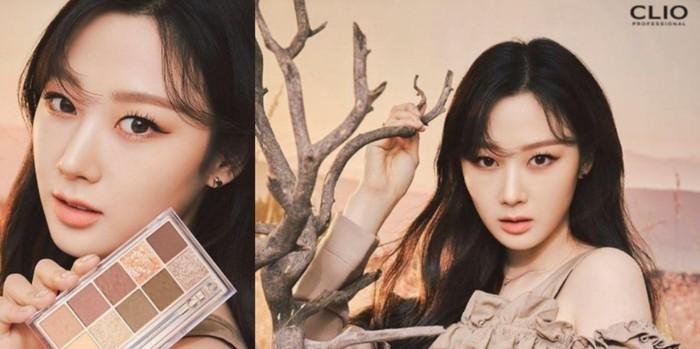 Giselle tampil dengan eyeshadow PRO EYE PALETTE milik CLIO yang diisi warna-warna musim gugur seperti merah anggur. Mempesona dengan look natural dan manis, Giselle dengan apik menyesuaikan konsepnya. (Foto: Koreaboo.com)