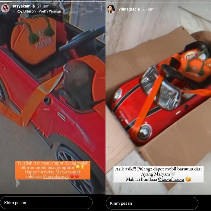 Selain berisikan snack-snack berwarna orange yang lengkap dengan totebagnya, Tasya Farasya pun mengirimkan hampers mobil-mobilan aki yang harganya dibanderol sekitar Rp1,4 juta. Mulai dari Tasya Kamila hingga beberapa selebritas lainnya mendapatkan hampers dari Tasya Farasya. (Foto: Instagram.com/tasyafarasya)