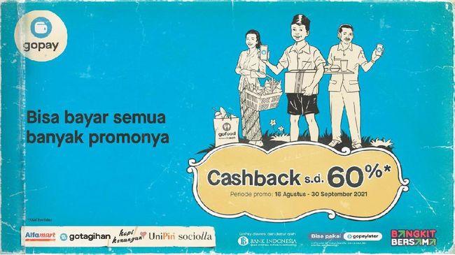 Membuat ajakan semakin menyenangkan, GoPay menyediakan promo cashback hingga 60 persen di ratusan rekan usaha lokal yang berlaku hingga 30 September 2021.