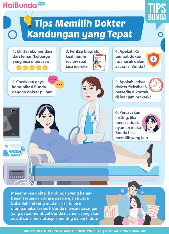 Infografis kehamilan tentang tips memilih dokter kandungan yang tepat.