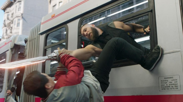 (L-R): Shang-Chi (Simu Liu) and Razor Fist (Florian Munteanu) in Marvel Studios' SHANG-CHI AND THE LEGEND OF THE TEN RINGS. Photo courtesy of Marvel Studios. ©Marvel Studios 2021. All Rights Reserved.