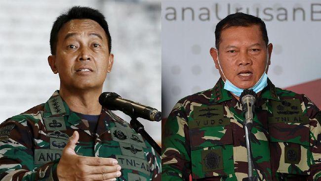 KSAL Laksamana Yudo Margono dan KSAD Jenderal Andika Perkasa digadang sebagai calon terkuat yang menggantikan Panglima TNI Hadi Tjahjanto.