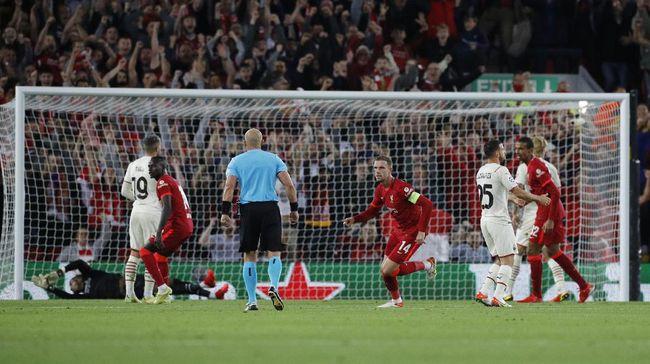 Gol Jordan Henderson saat Liverpool kalahkan AC Milan 3-2 di Anfield mengingatkan kepada momen magis Steven Gerrard di Istanbul 2005.