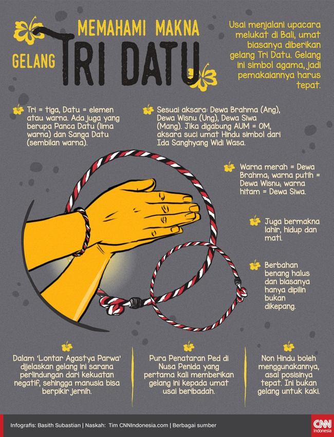 Usai menjalani upacara melukat di Bali, umat biasanya diberikan gelang Tri Datu. Gelang ini simbol agama, jadi pemakaiannya harus tepat.