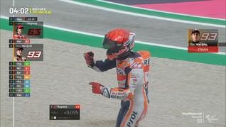 VIDEO: Marquez Jatuh Buntuti Bagnaia di Kualifikasi MotoGP