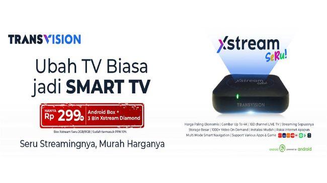 Transvision meluncurkan Transvision Xstream Seru, layanan streaming via Android Box lengkap dengan paket langganan 3 bulan hanya dengan Rp299.000.